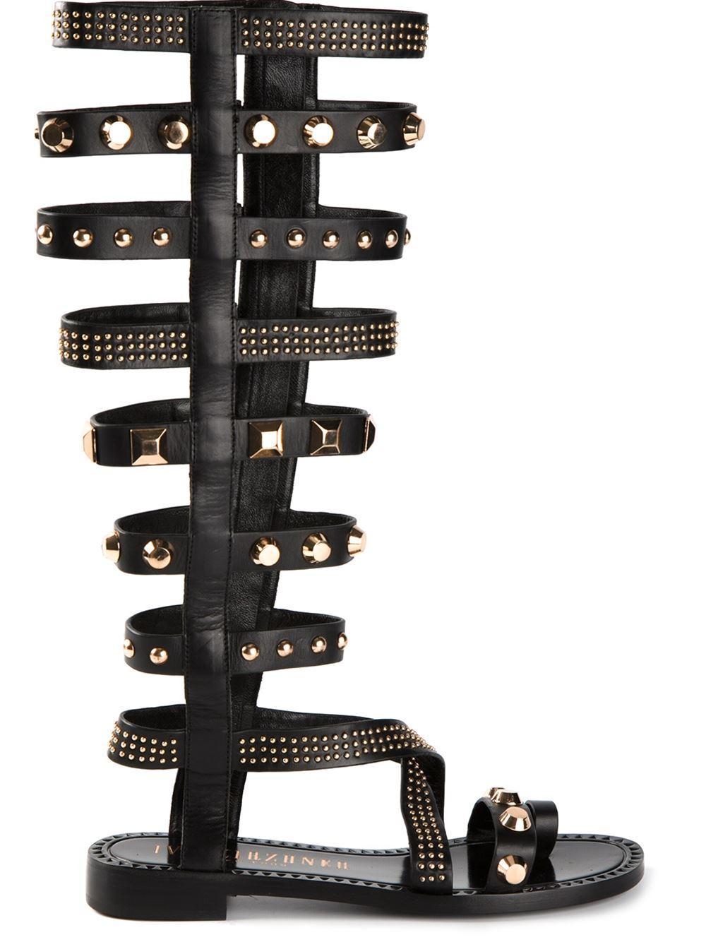 939ed604a73 Lyst - Ivy Kirzhner Triumph Studded Gladiator Sandals in Black
