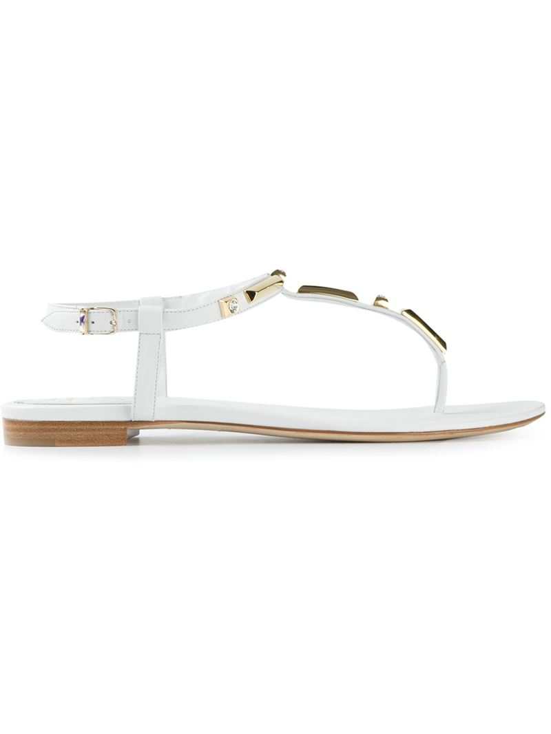 Get New embellished sandals - White Rene Caovilla Outlet Footlocker Finishline Cheap New Arrival Reliable For Sale Affordable Sale Online Xupfx1ew6