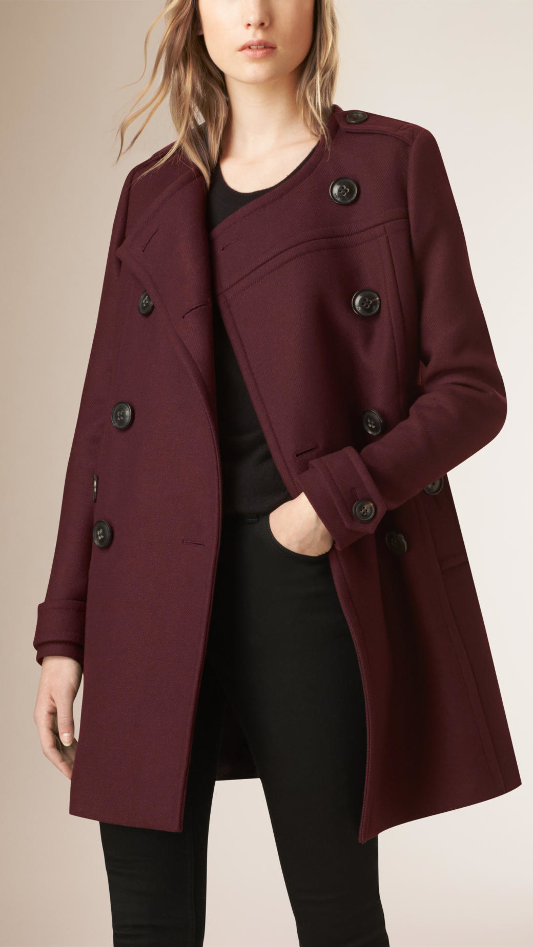 Burberry Collarless Wool Blend Coat in Red | Lyst