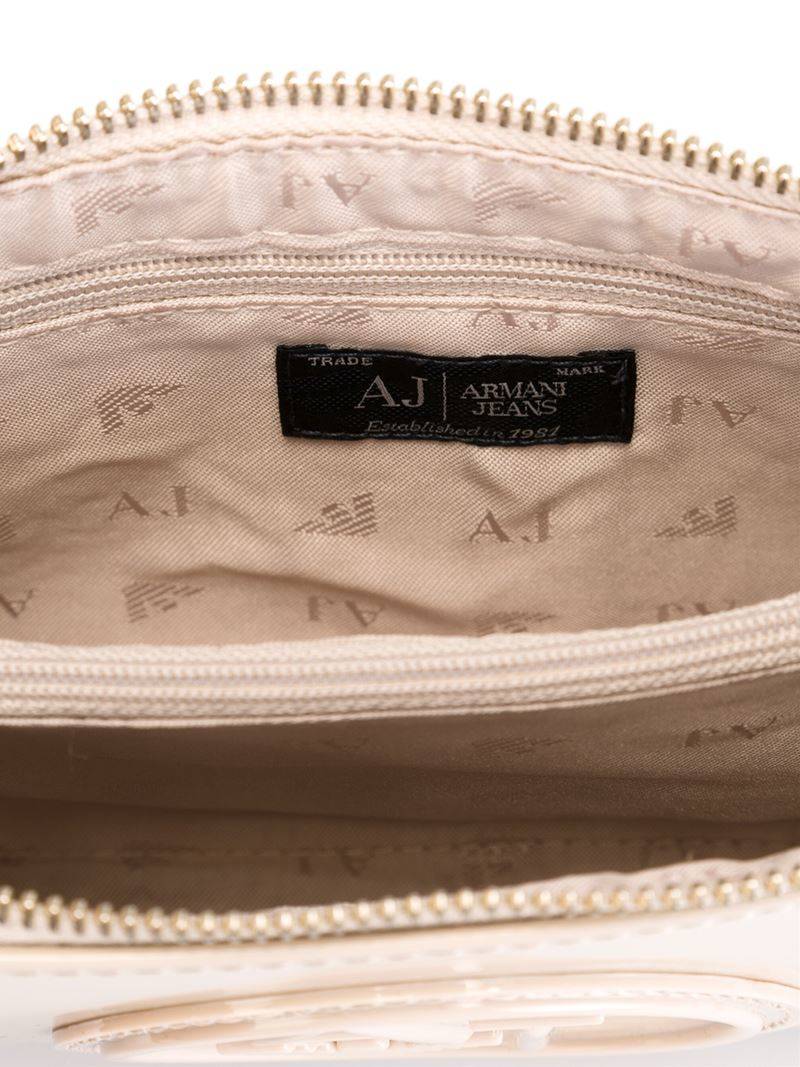 Lyst - Armani Jeans Embossed Logo Clutch in Natural 025008ac01