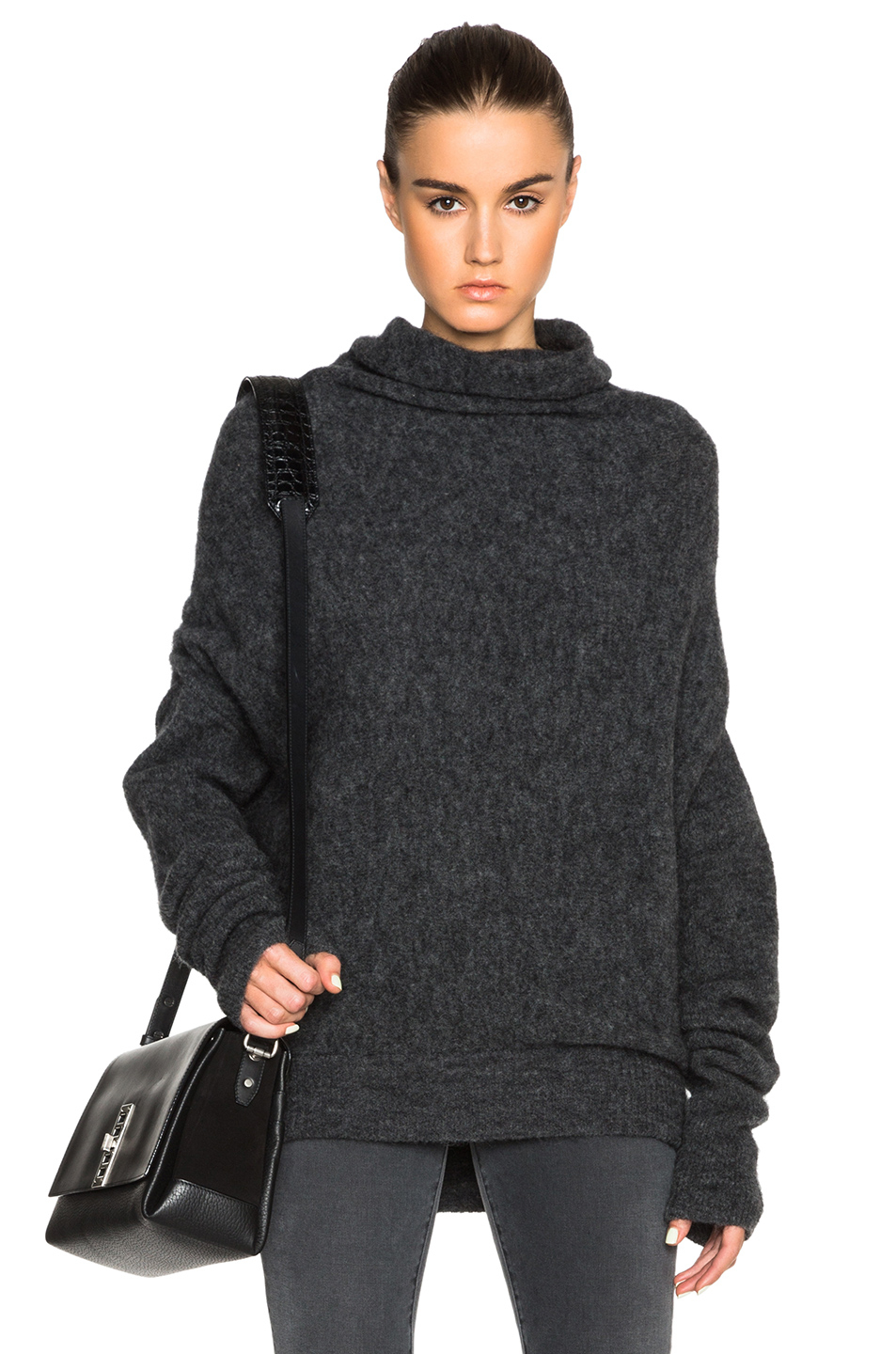 acne studios vendome drape mohair sweater in gray lyst. Black Bedroom Furniture Sets. Home Design Ideas