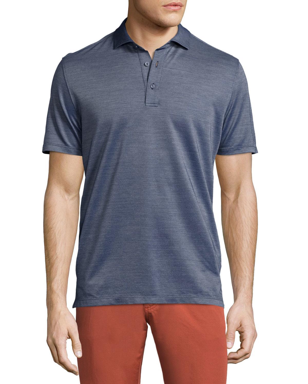 Ermenegildo Zegna Silk Blend Short Sleeve Polo Shirt In