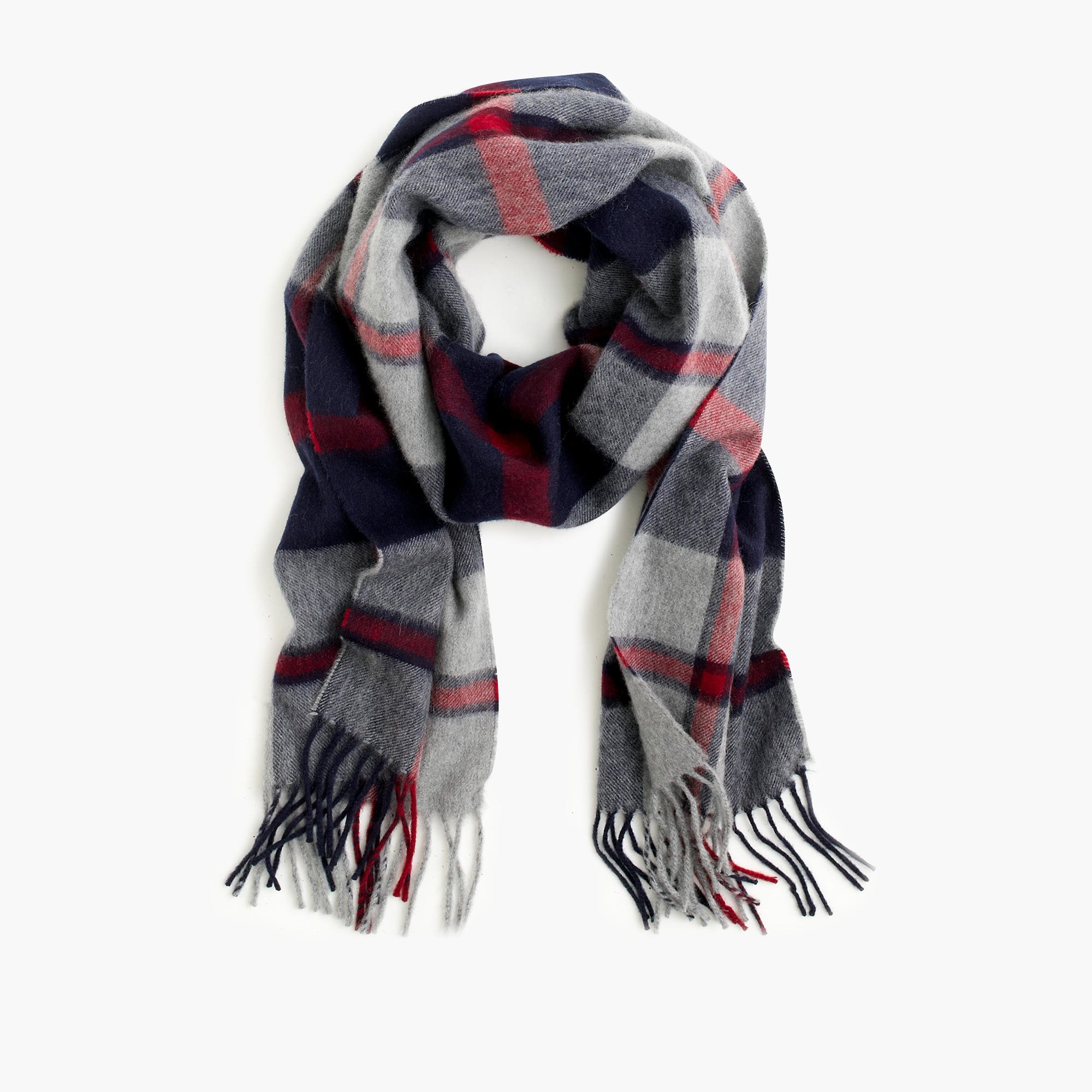 j crew scarf in plaid in gray for lyst