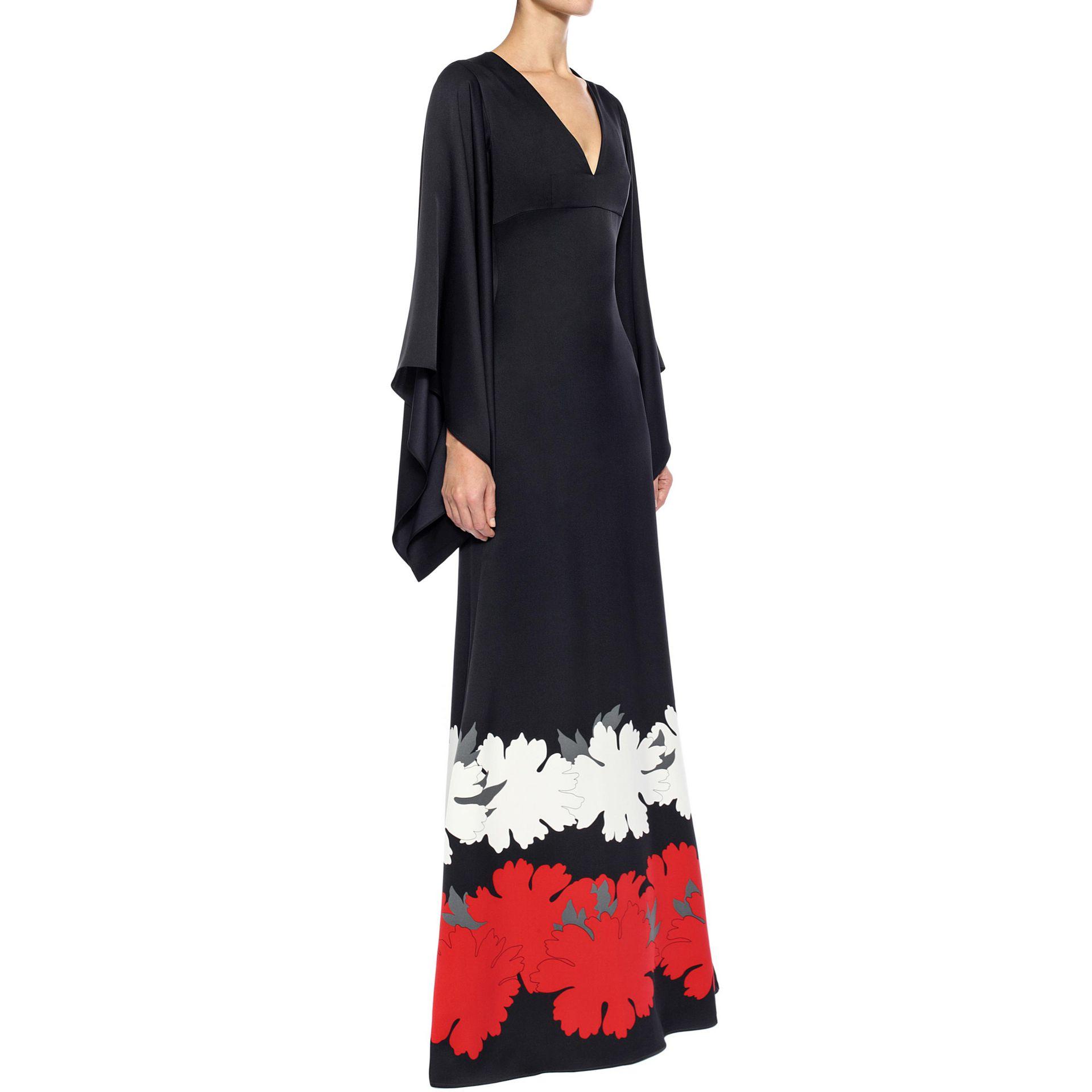 ae413ad96d1b Alexander McQueen Satin Kimono Sleeve Long Dress in Black - Lyst