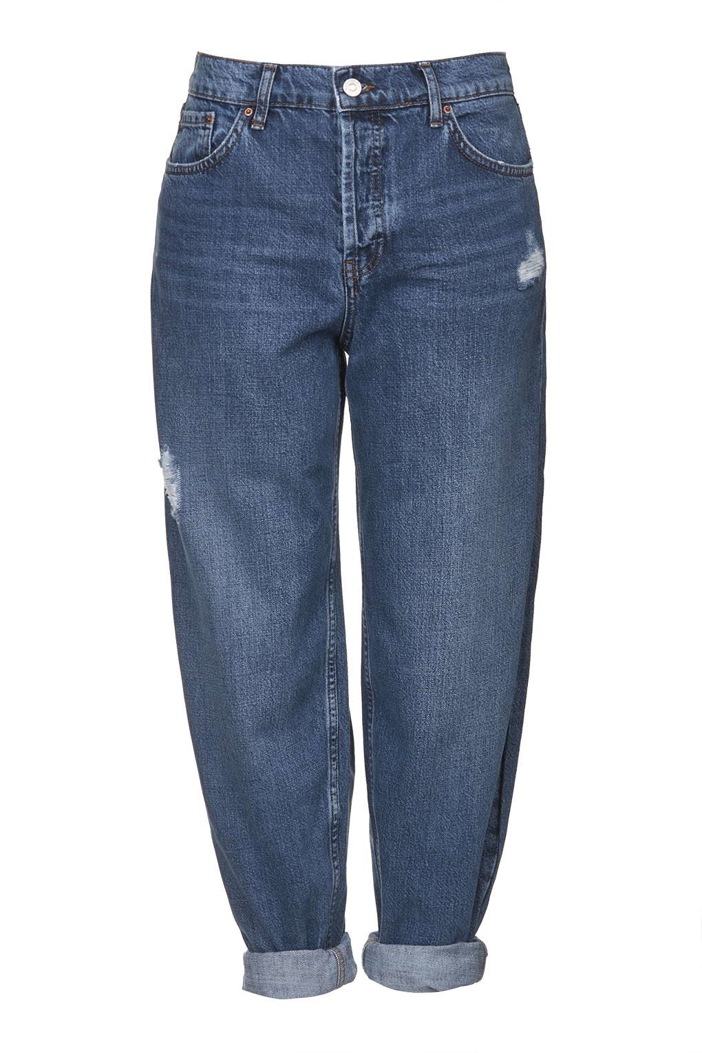 Lyst topshop moto oversized boyfriend jeans in blue for Womens denim shirts topshop
