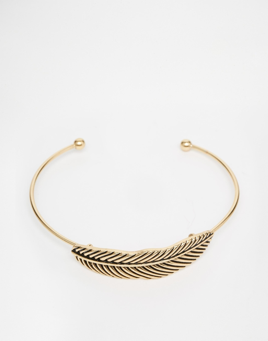 Asos Feather Bracelet In Burnished Gold in Red for Men Lyst