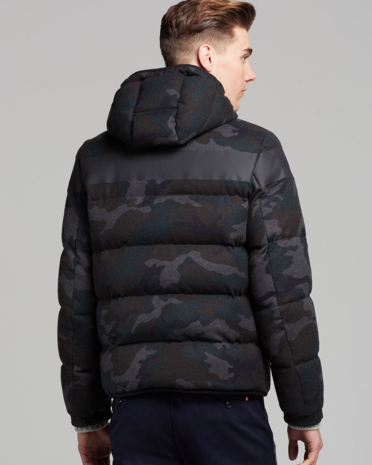 ba338bd71a718 Moncler Erault Camo Hooded Down Jacket in Gray for Men - Lyst
