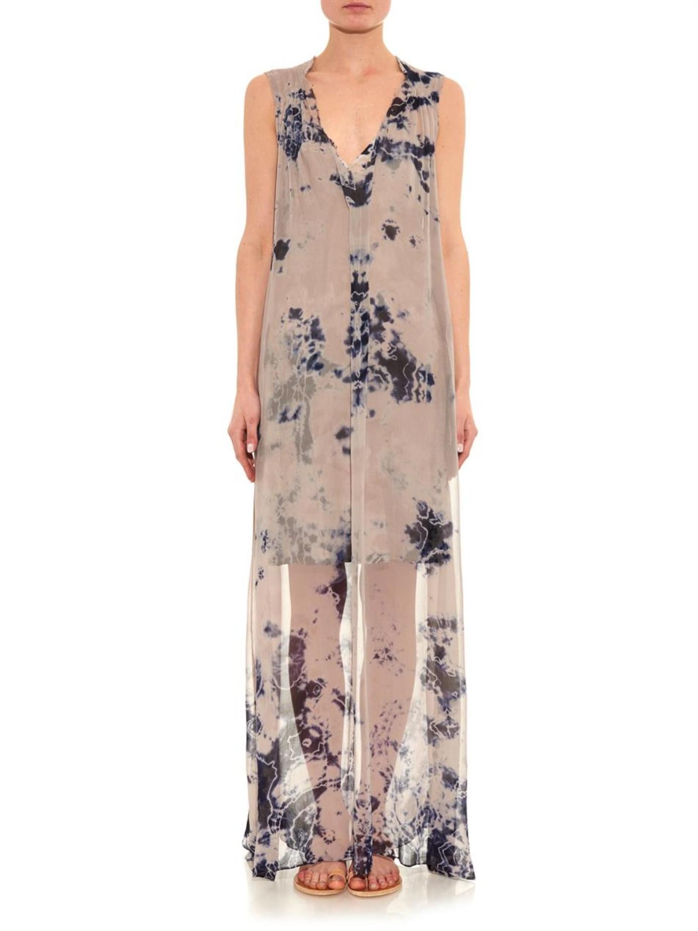 Raquel allegra Tie-Dye Silk-Chiffon Maxi Dress in Natural  Lyst