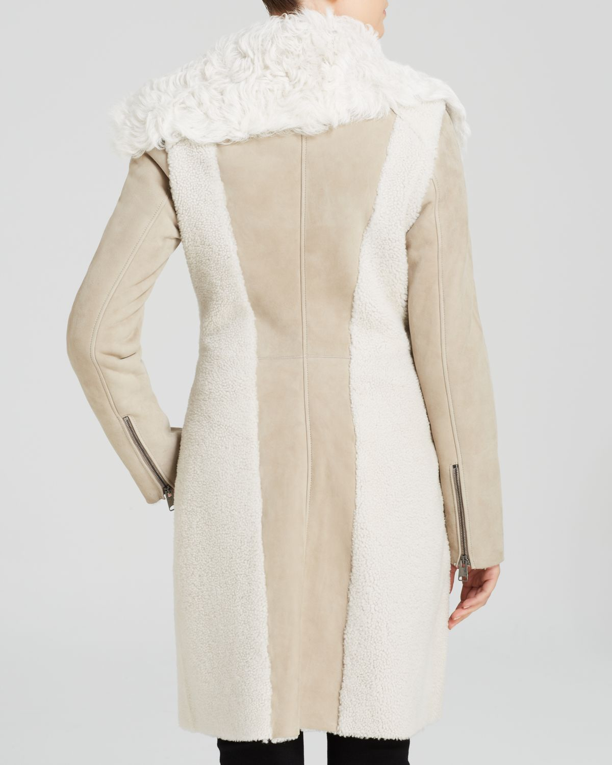 Maximilian Maximilian Asymmetric Curly Collar Lamb Shearling Coat