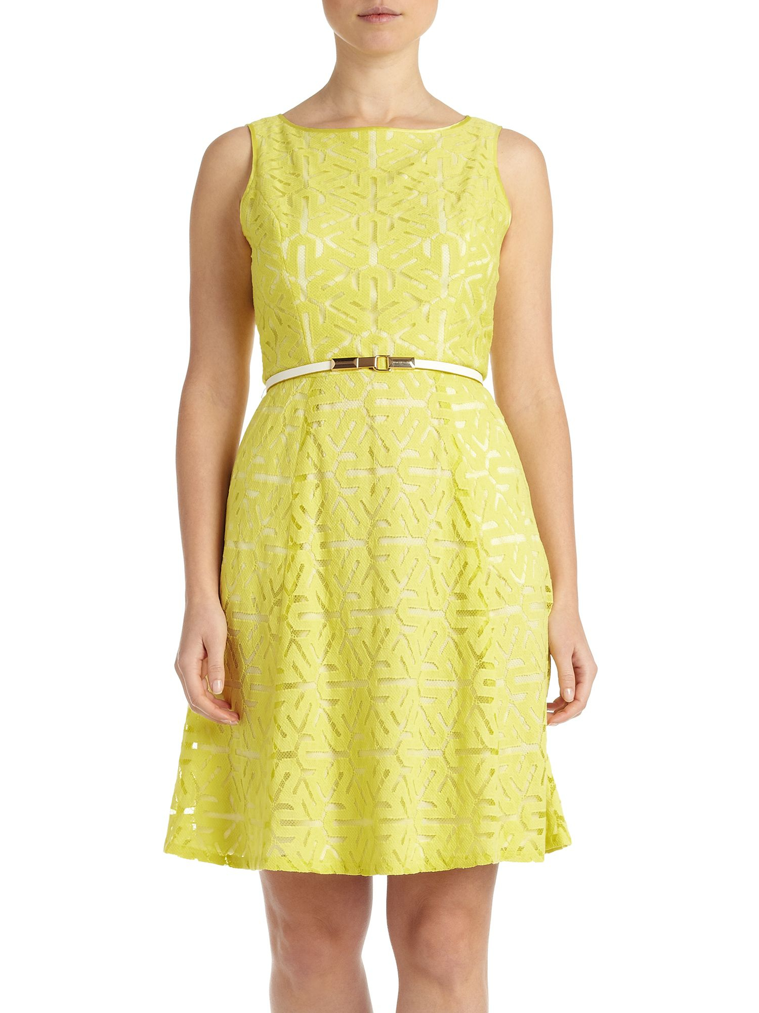 Adrianna Papell Sleeveless Abstract Lace Shift Dress In