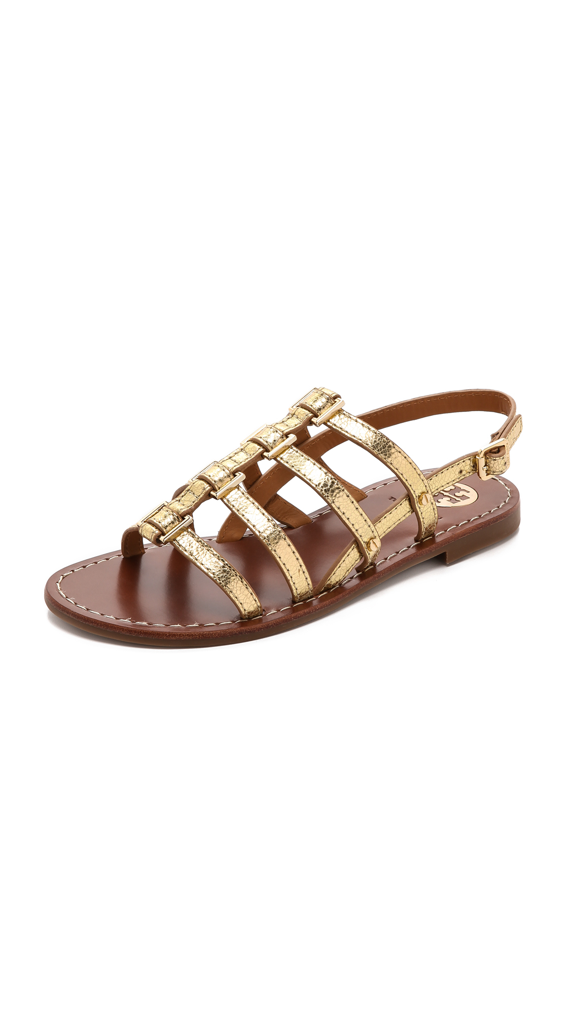 tory burch reggie flat sandals gold in metallic lyst. Black Bedroom Furniture Sets. Home Design Ideas