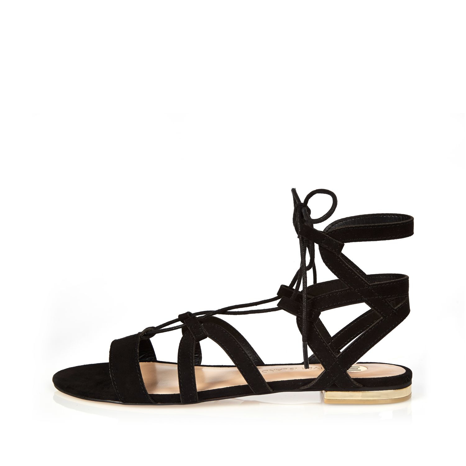 buy cheap wholesale price latest River Island sandals with scallop edge in black pre order spQZ40