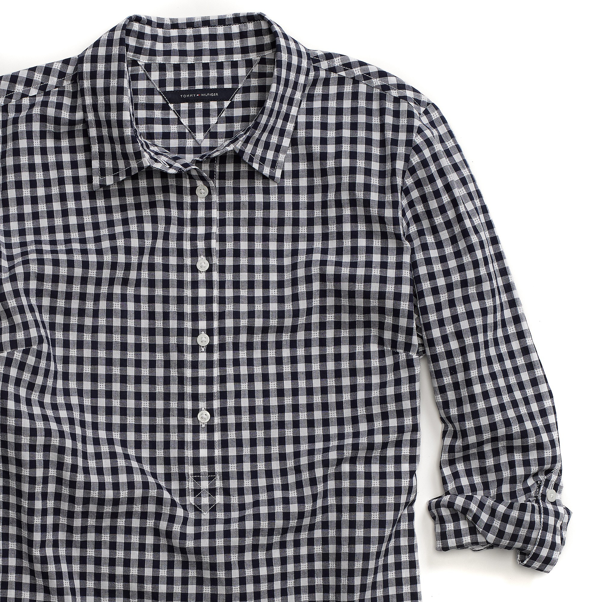 Tommy Hilfiger Gingham Popover Shirt In Black Peacoat