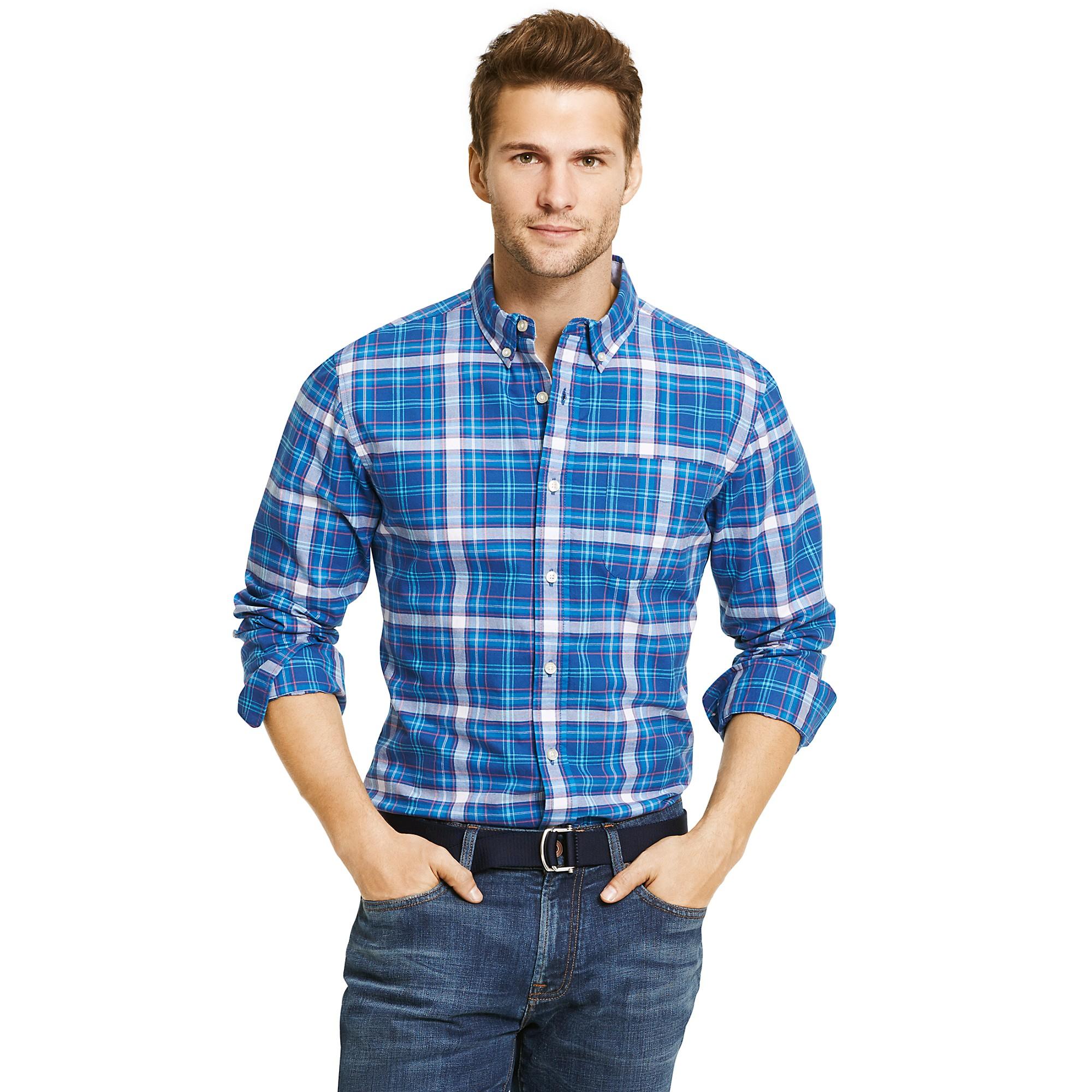 Tommy hilfiger big tall custom fit dock plaid shirt in for Big and tall custom shirts