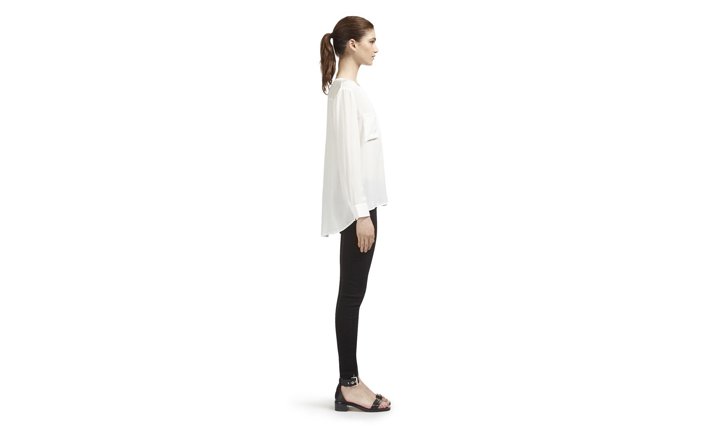 White Long Line Blouse 86