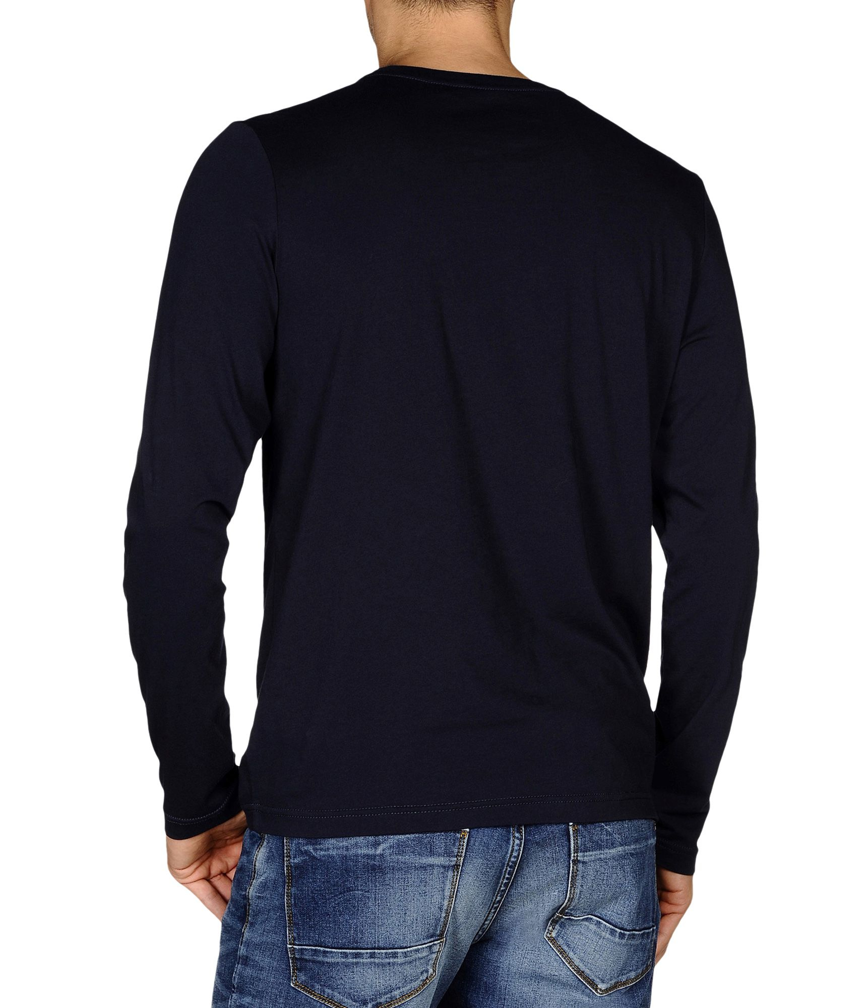Napapijri long sleeve t shirt in blue for men dark blue for T shirt dark blue
