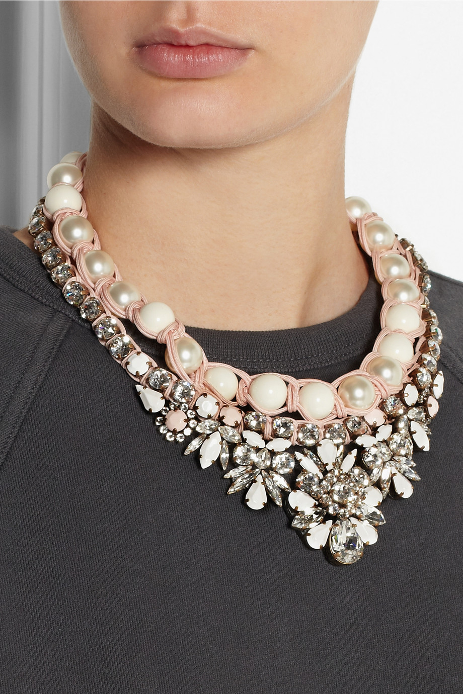 Shourouk Cotton Theresa Swarovski Crystal And Faux Pearl
