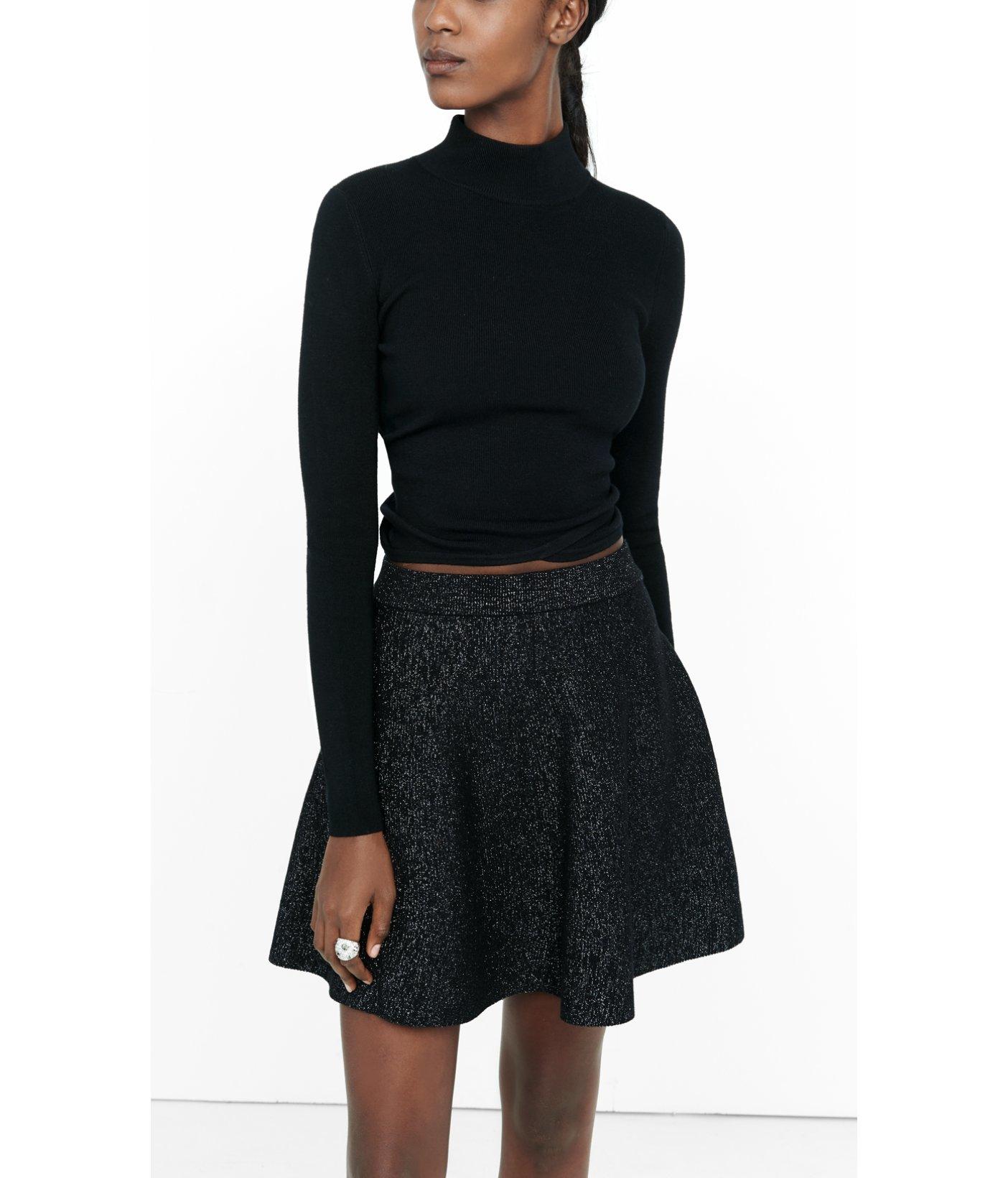 express metallic high waisted flared mini skirt in black