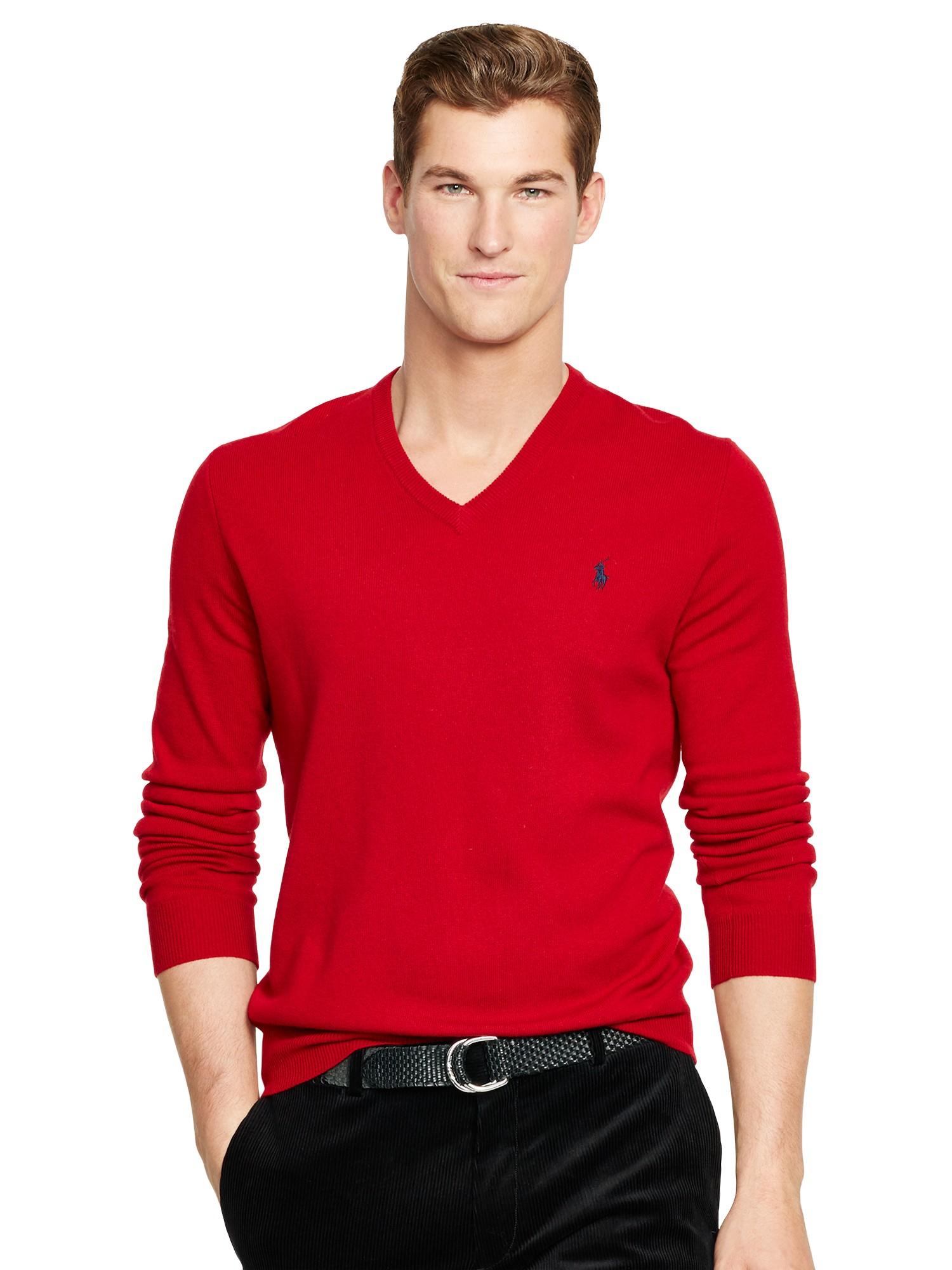 Ralph Lauren Fashion Show At New York: Polo Ralph Lauren Merino Wool V-neck Jumper In Red For Men