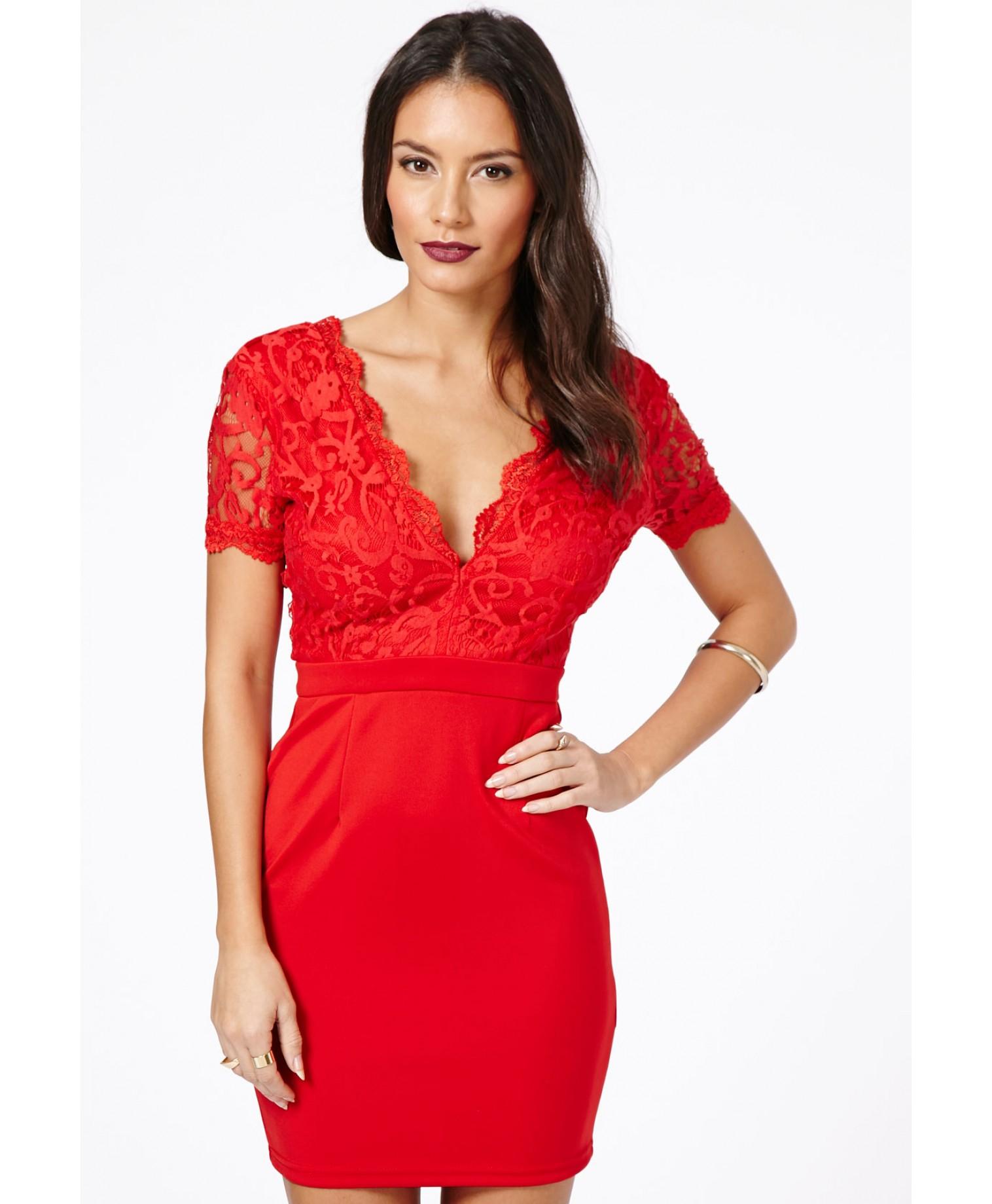 Risuka Red V Neck Lace Mini Dress