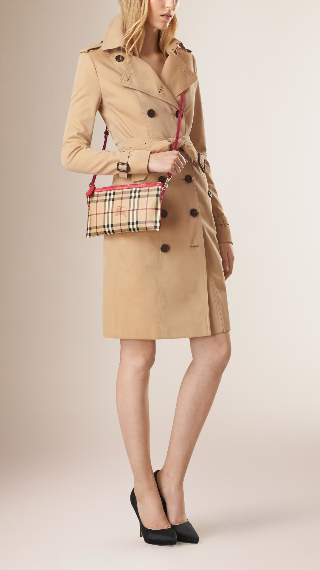 91b515185111 Lyst - Burberry Haymarket Check Clutch Bag in Natural