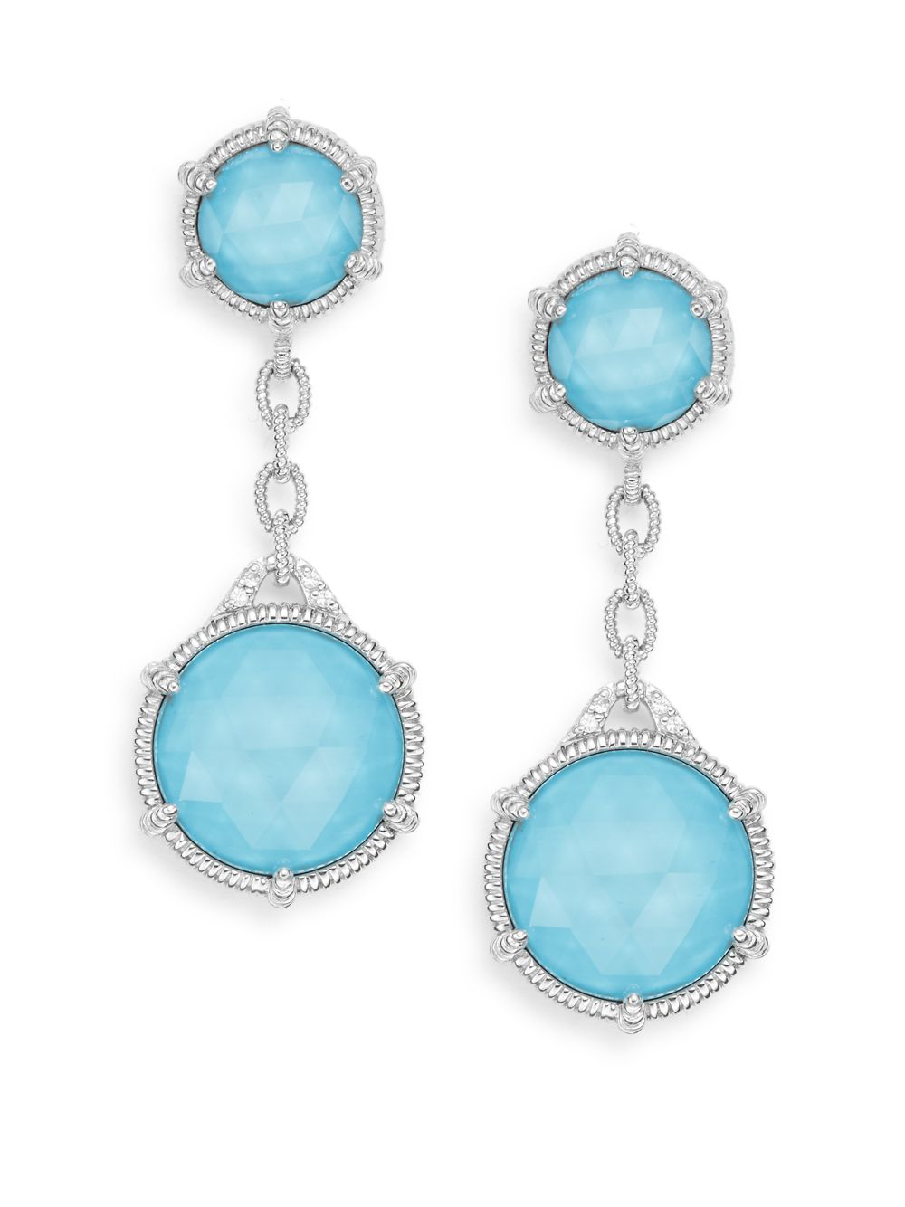 fbffe7935 Judith Ripka Eclipse Turquoise, White Sappire & Sterling Silver ...
