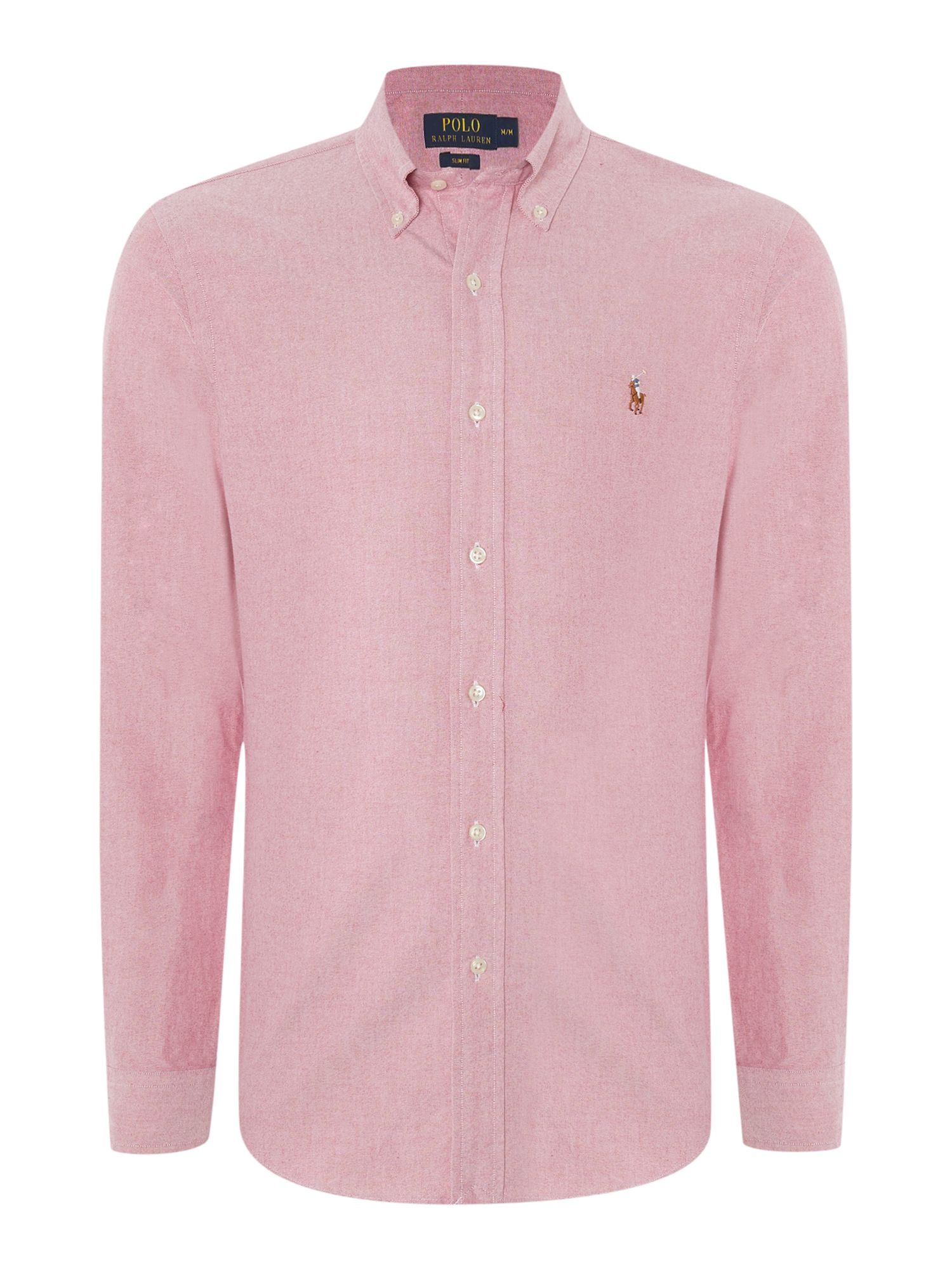 Lyst polo ralph lauren long sleeve slim fit oxford shirt for Pink oxford shirt men