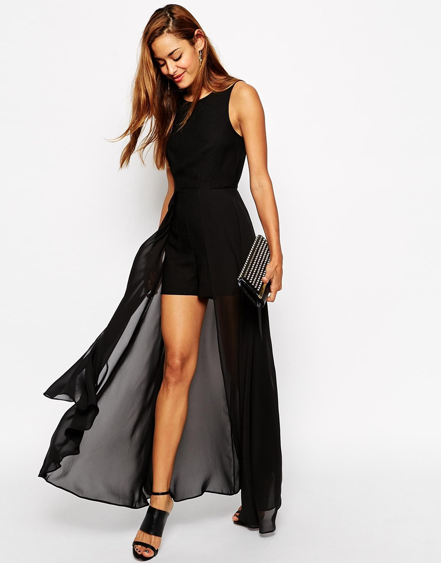 Lyst - ASOS Playsuit With Maxi Chiffon Overlay in Black