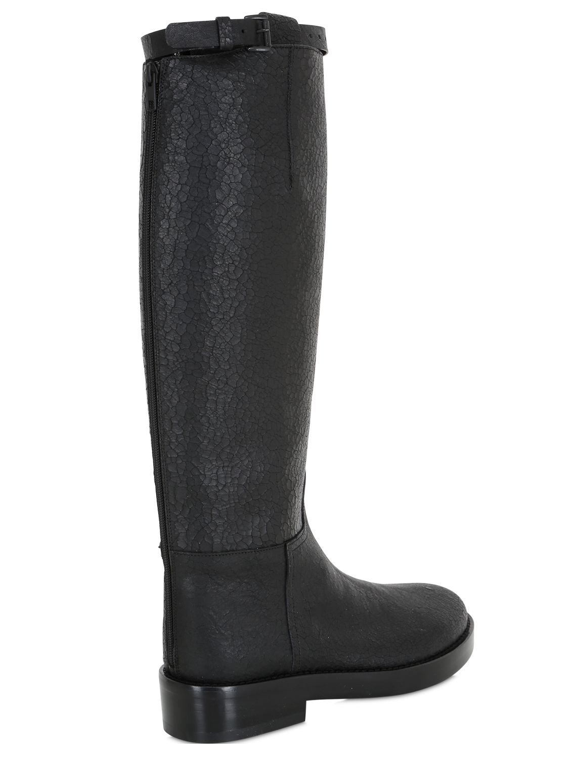 Ann Demeulemeester 30mm Crackled Leather Riding Boots in Black