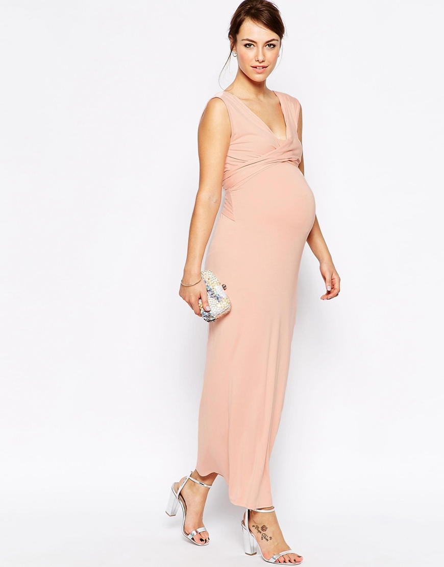 Pink long maternity dress gallery braidsmaid dress cocktail lyst asos maxi dress with cross front in pink gallery ombrellifo gallery ombrellifo Choice Image