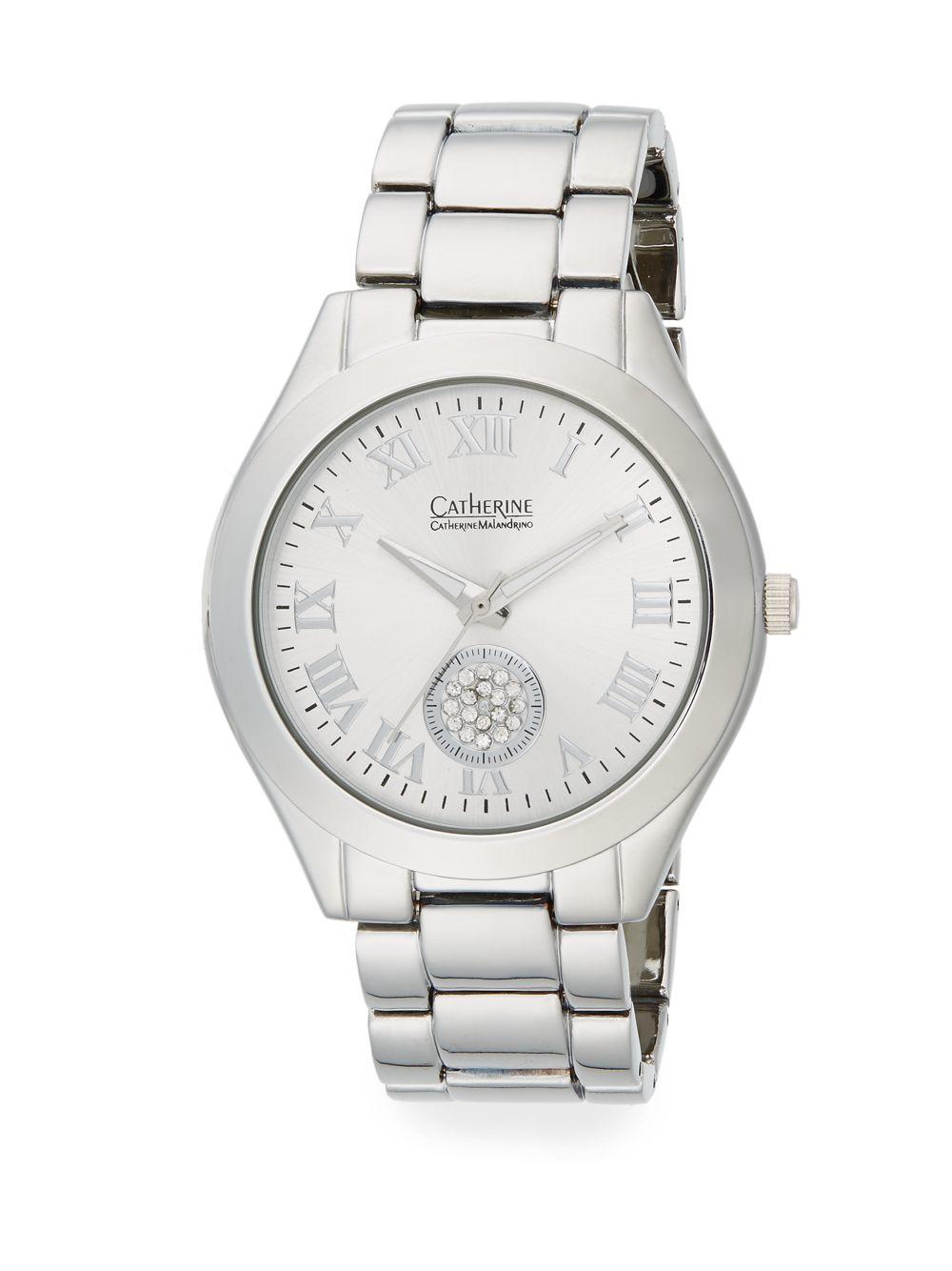 catherine malandrino silvertone link bracelet watch in