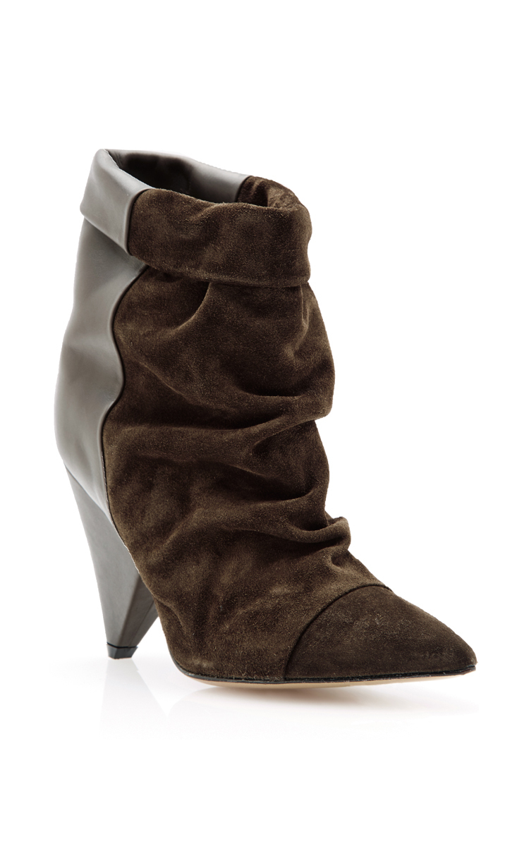 Isabel Marant Calf Leather And Suede Slouch Ankle Boots In