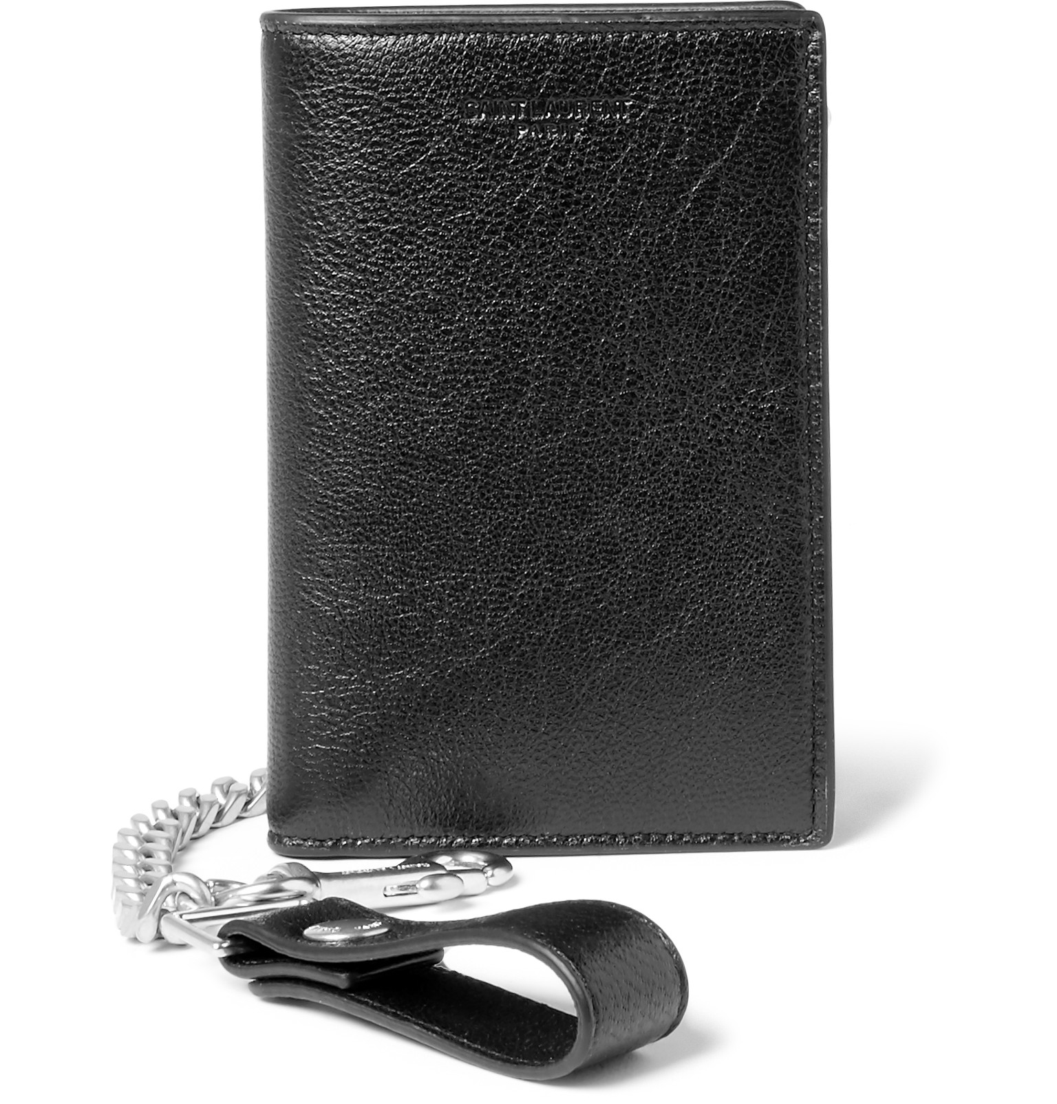a5d4124f21a Saint Laurent Rider Full-grain Leather Chain Wallet in Black for Men ...