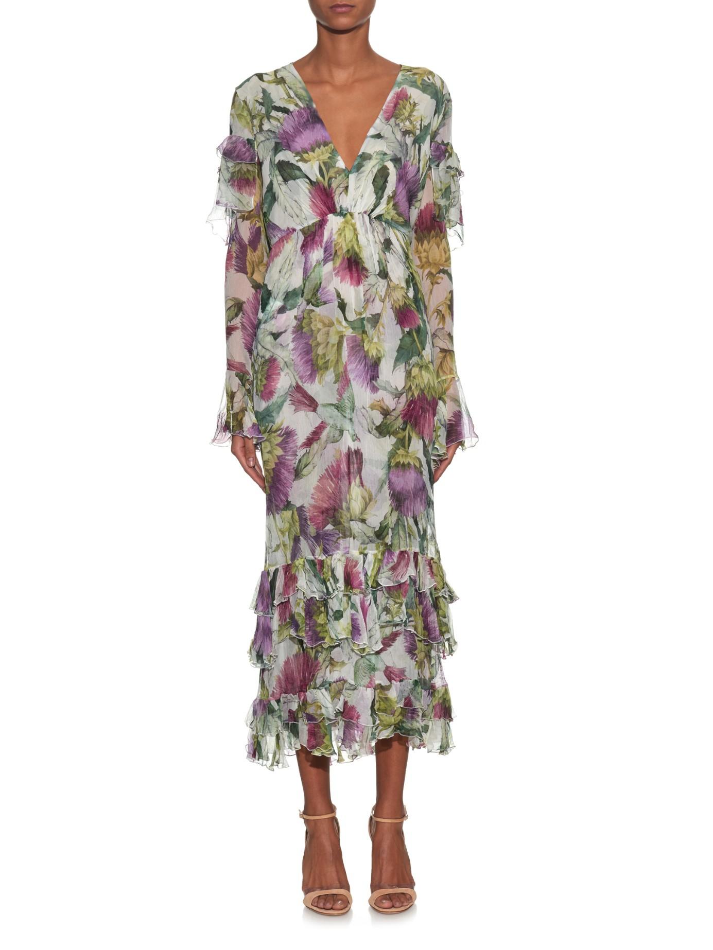 Gucci Floral Print Long Sleeved Silk Chiffon Midi Dress In