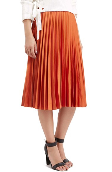 Topshop Pleated Satin Midi Skirt in Orange | Lyst