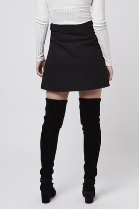 Topshop Tall Wool A-line Skirt in Black | Lyst