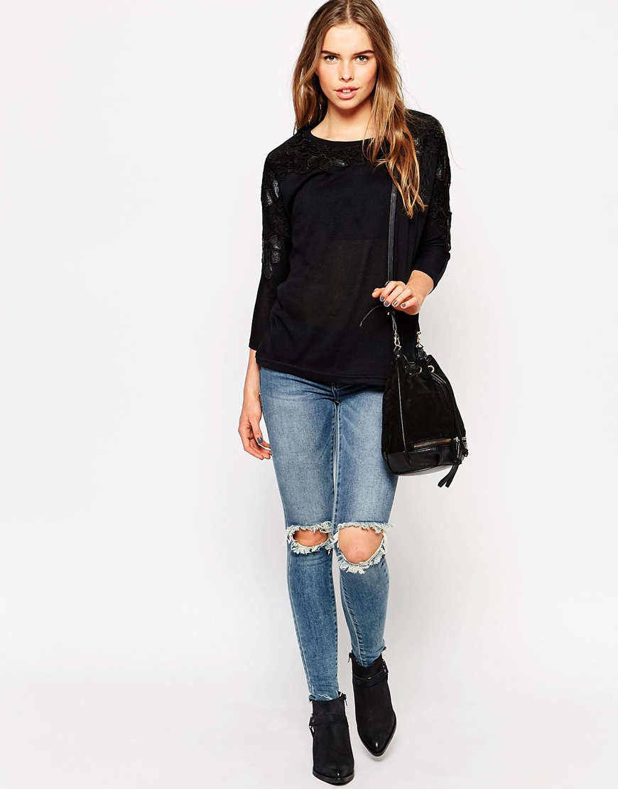 Vero Moda Long Sleeve Top With Embroidered Detail In Black