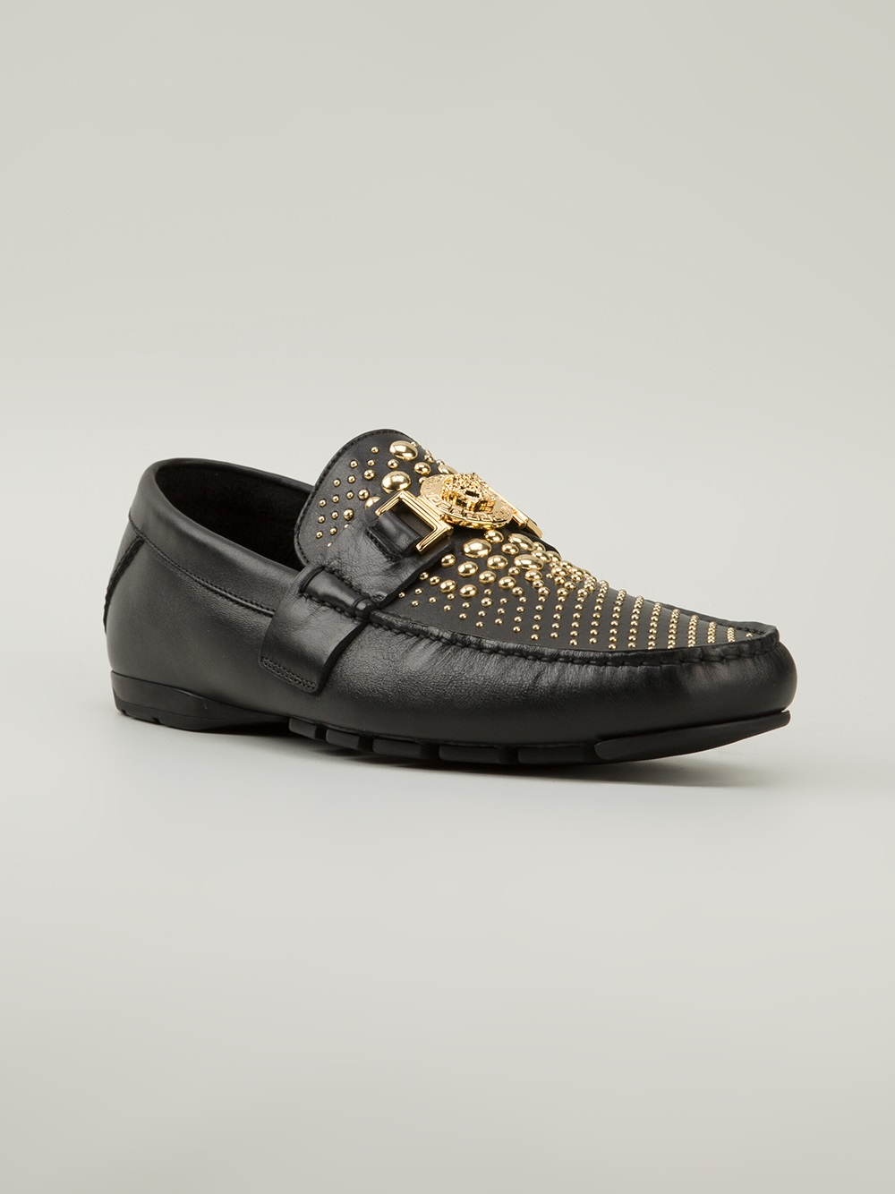 Versace Studded Car Shoes in Black for Men