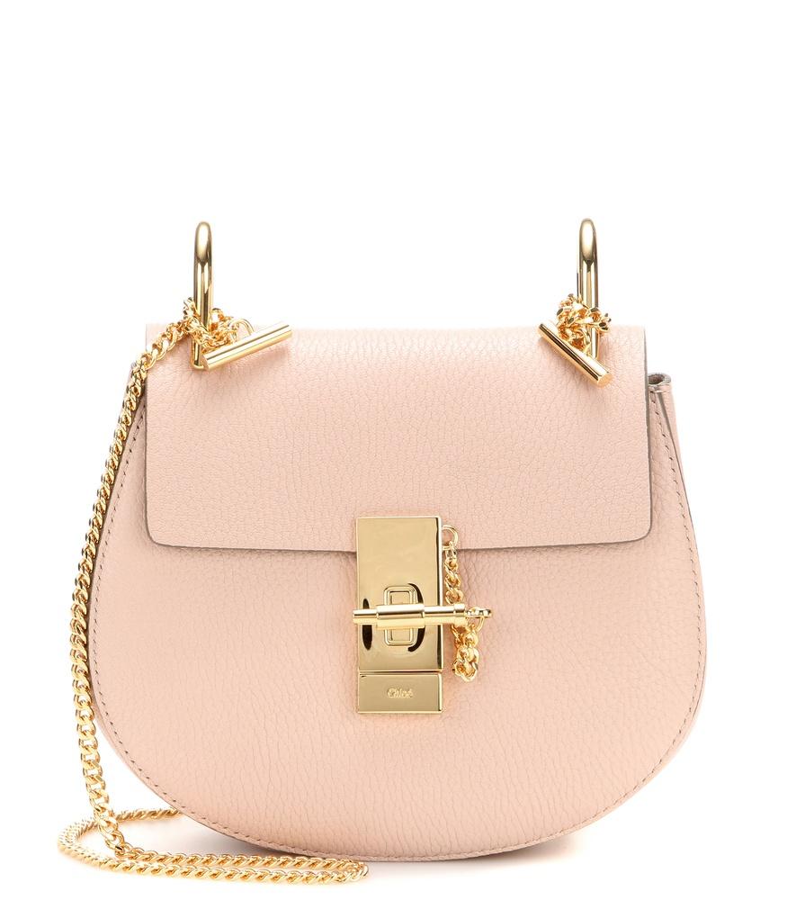 chlo drew mini leather shoulder bag in pink lyst. Black Bedroom Furniture Sets. Home Design Ideas