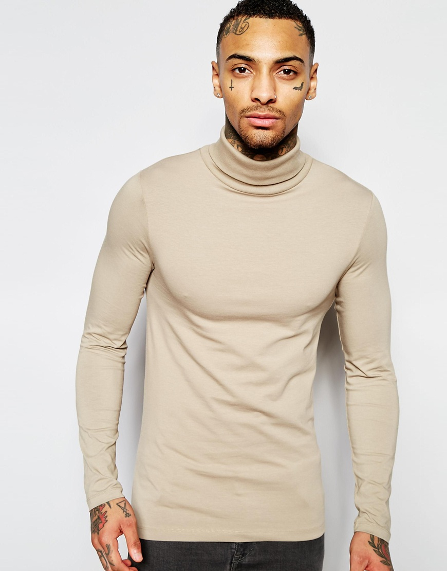 Asos Extreme Muscle Long Sleeve T Shirt With Roll Neck In