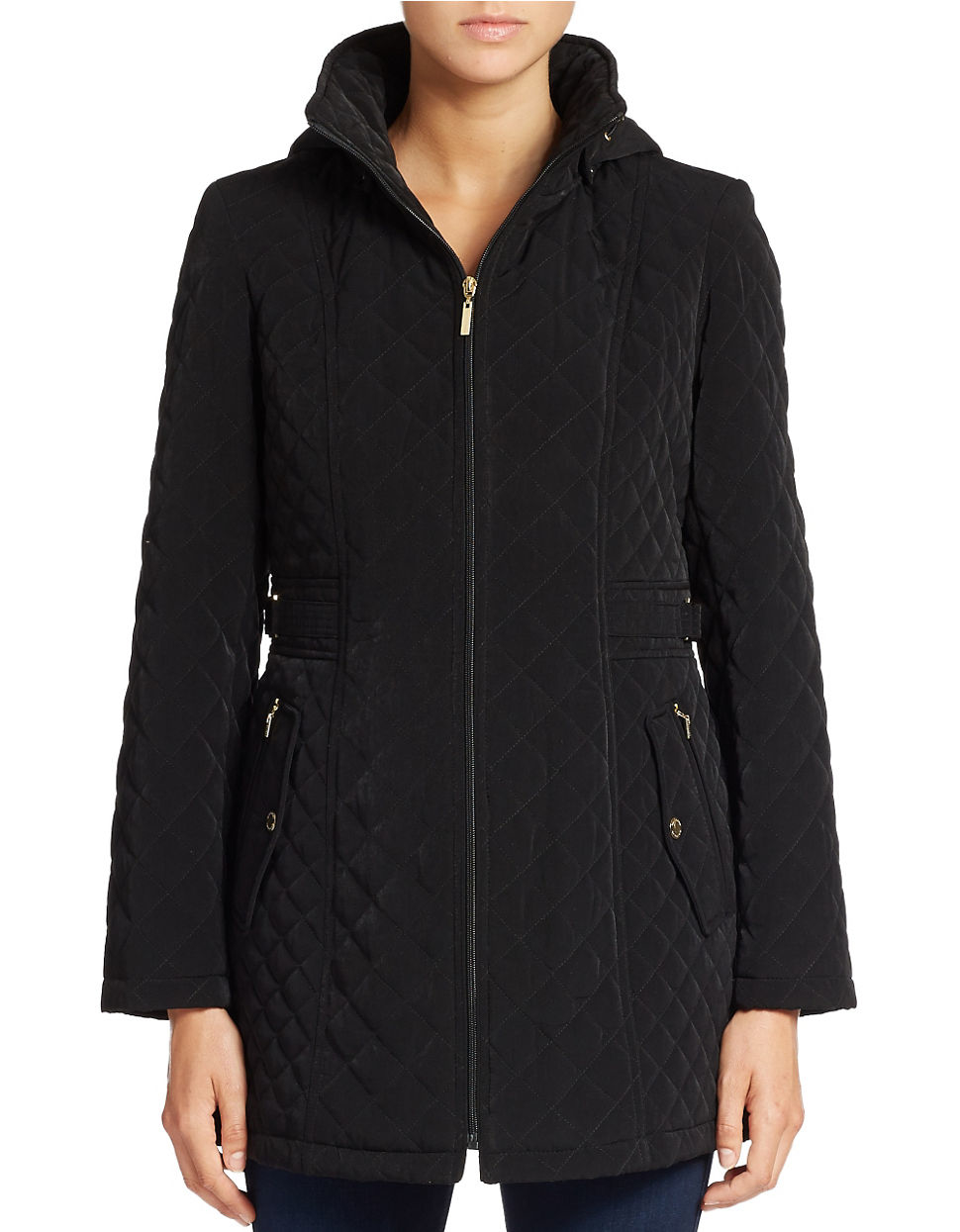Gallery Hooded Quilted Coat In Black Lyst