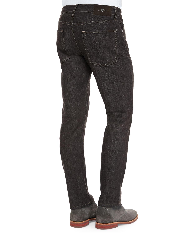 7 for all mankind slimmy cashmere denim jeans in brown for. Black Bedroom Furniture Sets. Home Design Ideas