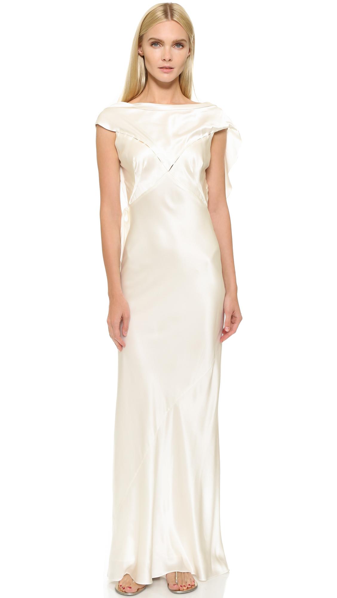Lyst Zac Posen Silk Gown In White