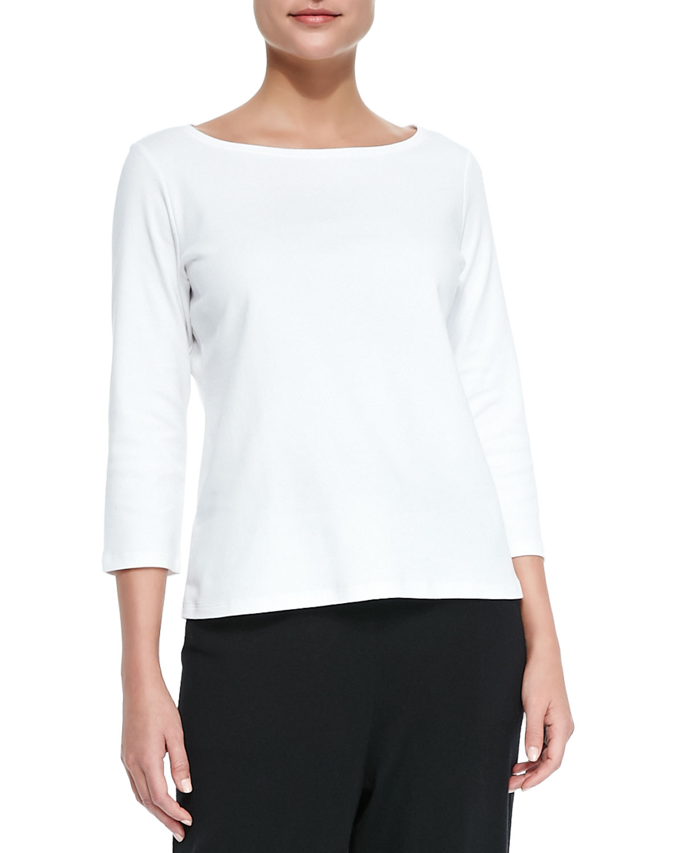 Lyst eileen fisher 3 4 sleeve organic cotton tee in white for Eileen fisher organic cotton t shirt