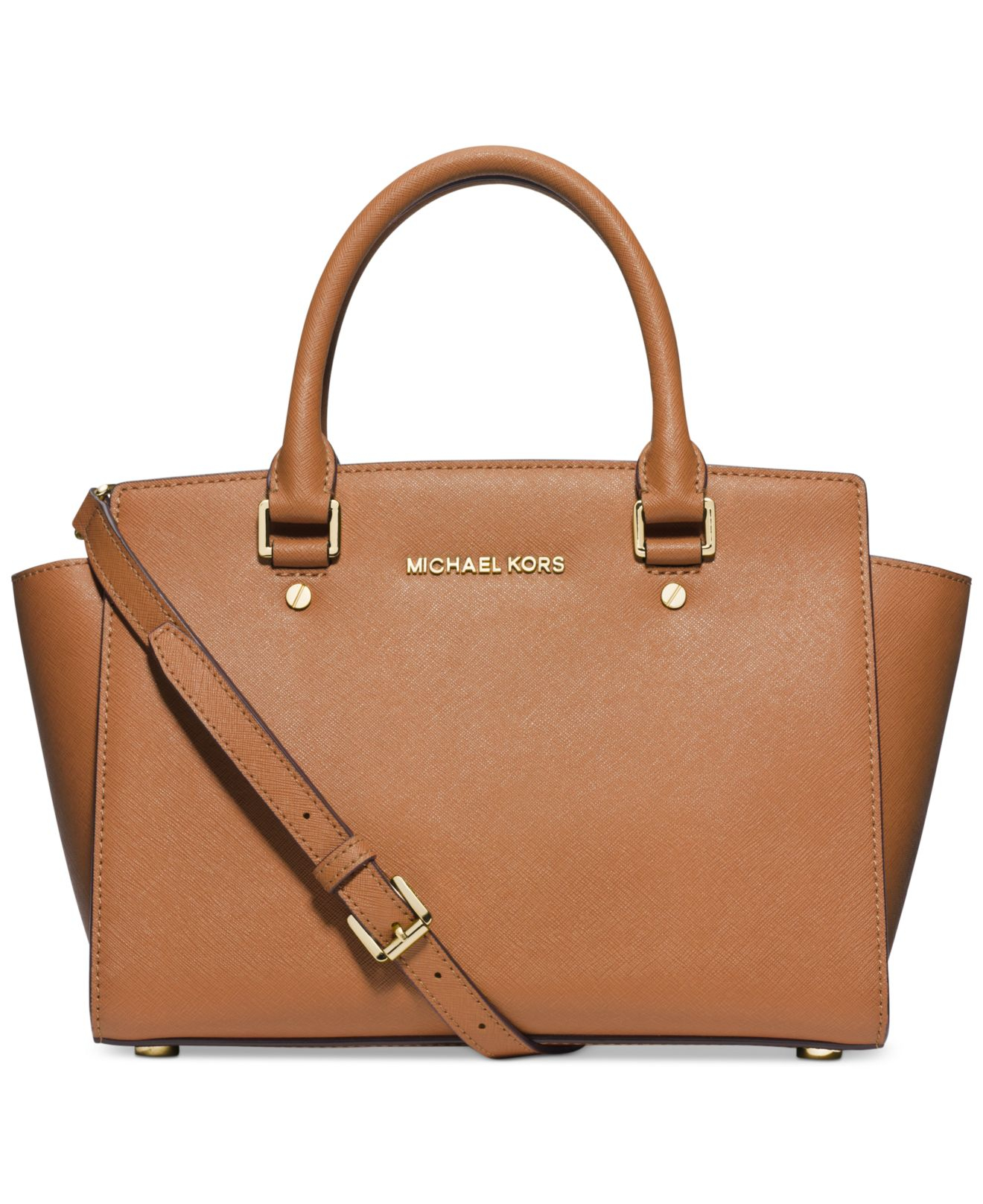 michael kors michael selma medium satchel in brown lyst. Black Bedroom Furniture Sets. Home Design Ideas