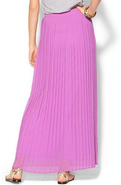 sabine pleated maxi skirt in purple pink berry lyst