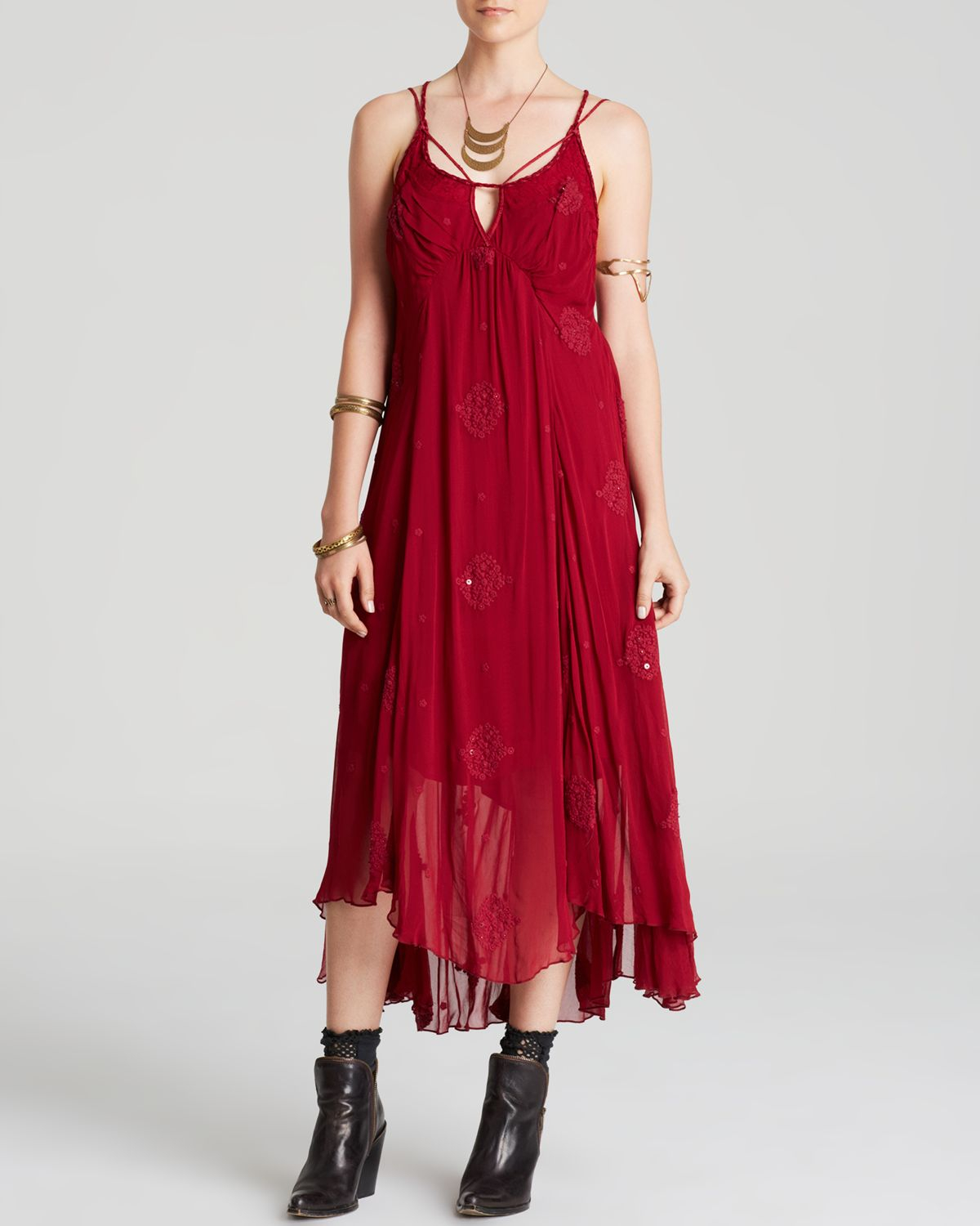 Free people Dress - Blue Moon Draped in Red - Lyst