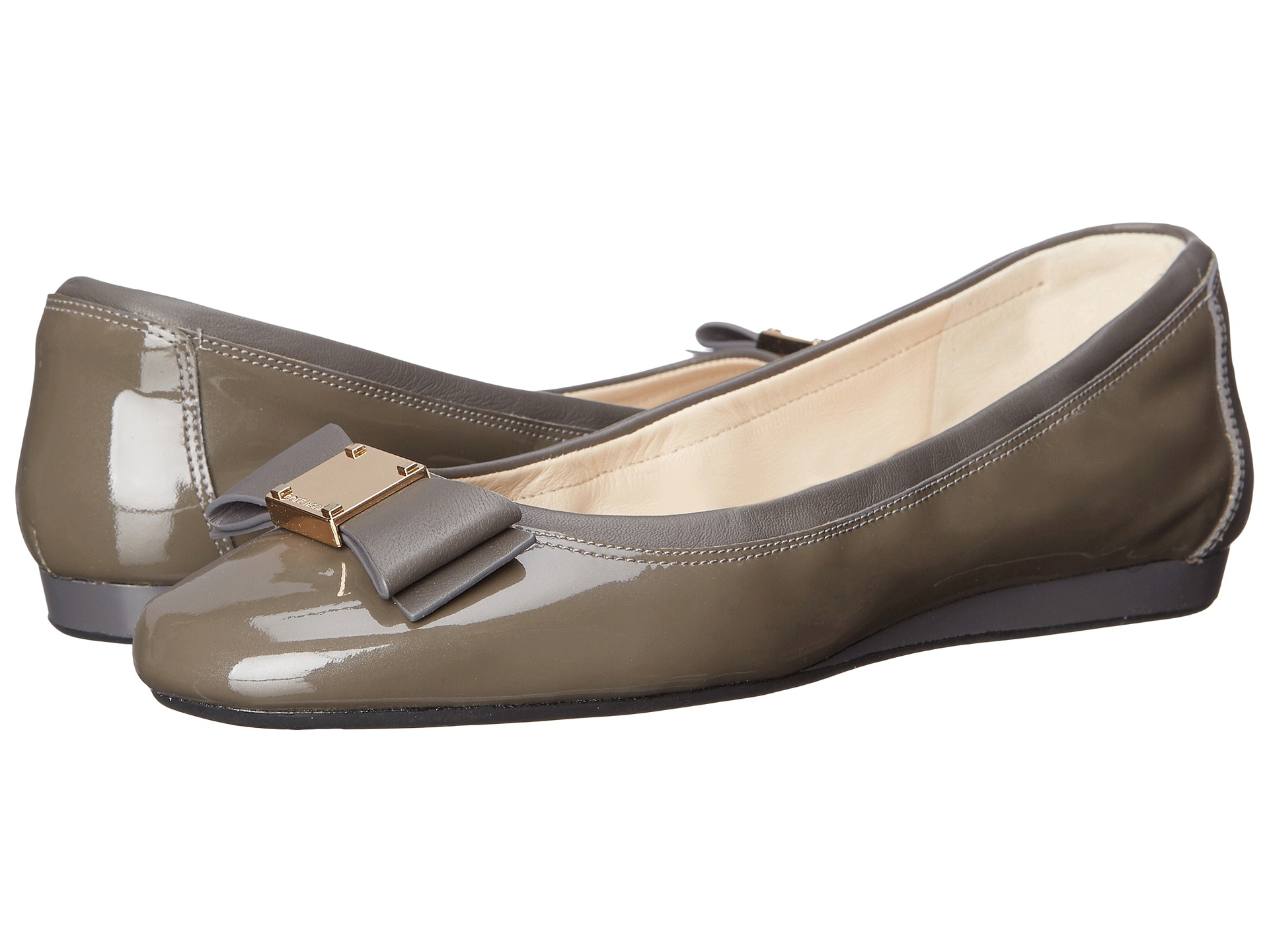 Womens Shoes Cole Haan Tali Bow Ballet Stormcloud Metallic Patent/Stormcloud