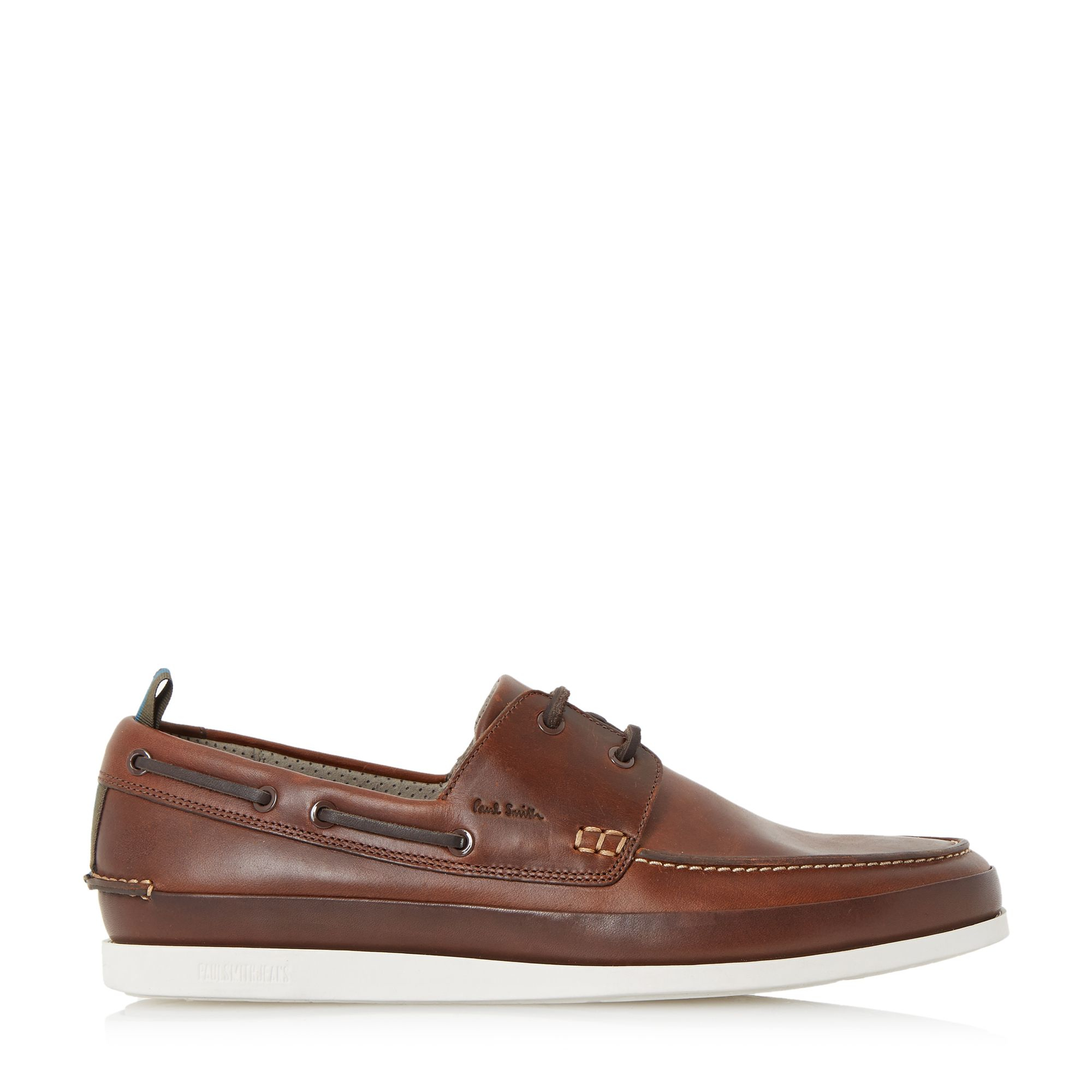 Paul Smith Leather Branca White Sole Boat Shoes in Tan (Brown) for Men