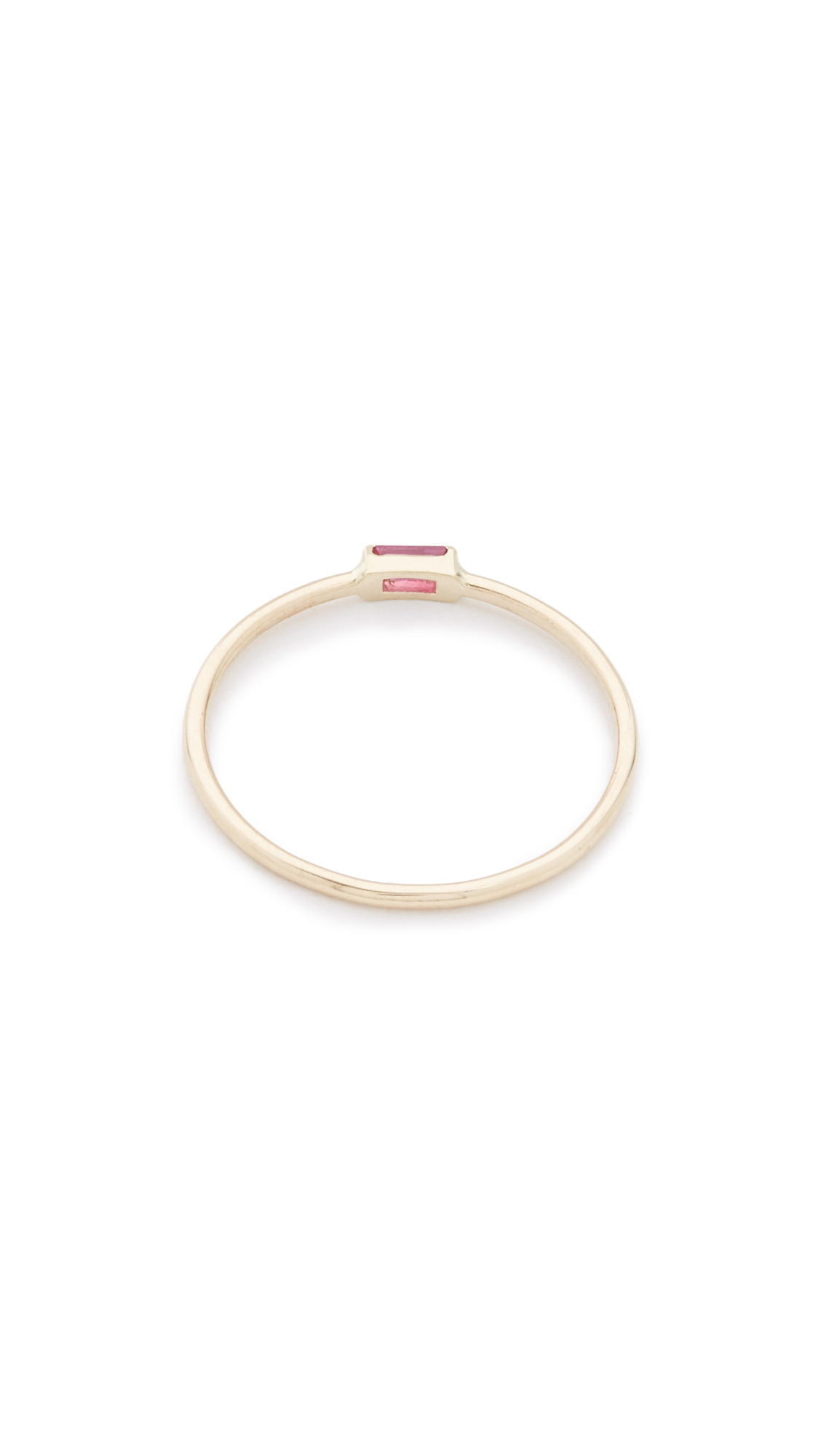 Zoe Chicco Small Horizontal Ruby Baguette Ring in Gold/Ruby (Red)